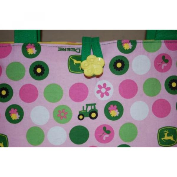 Handmade Pink John Deere Trimmed in Green Handbag Purse Tote Bag Beach Bag #3 image