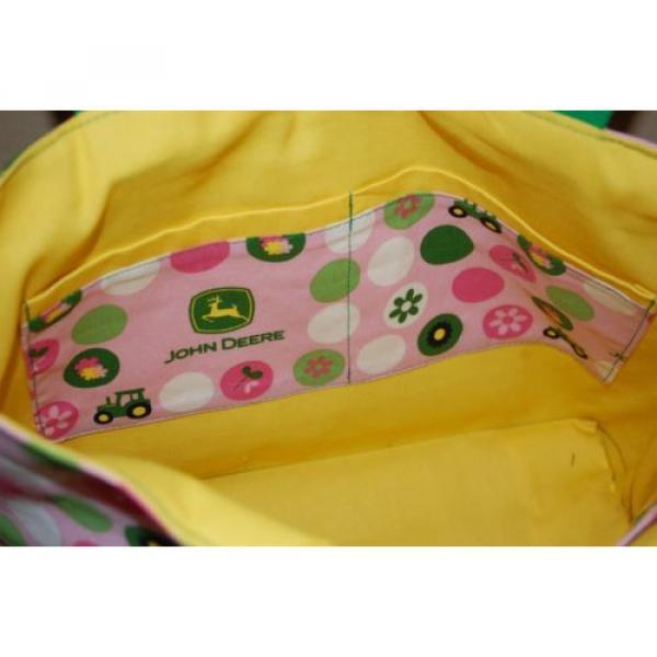 Handmade Pink John Deere Trimmed in Green Handbag Purse Tote Bag Beach Bag #4 image