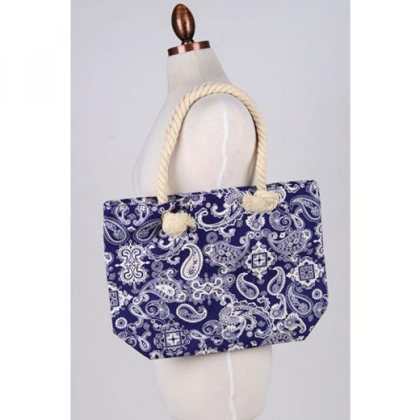 Women Beach Bum Handbag Over Shoulder Paisley CANVAS Large Day Tote Shopping Bag #4 image