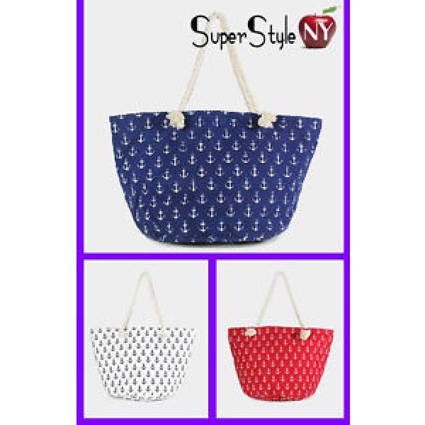 Print Anchor Canvas Braided Rope Zip Summer Bag Tote Beachbag #1 image
