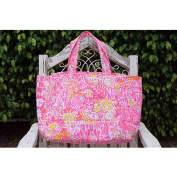 NWT Lilly Pulitzer Palm Beach Tote Bag PINK POUT KINIS IN THE KEYS Travel Bag #3 image
