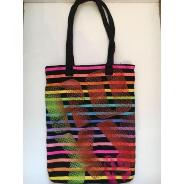 Roxy colorful striped tote/summer/beach/book bag #1 image