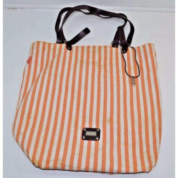 Saldarini Como 1882 Striped Canvas Extra Large Beach Bag Tote Orange #1 image