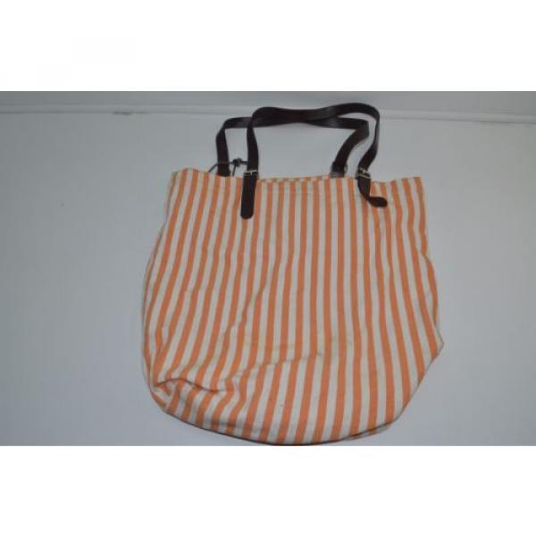 Saldarini Como 1882 Striped Canvas Extra Large Beach Bag Tote Orange #3 image