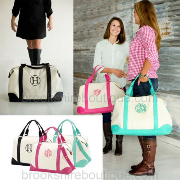 PERSONALIZED MONOGRAM WEEKEND CANVAS TRAVEL BEACH DUFFLE BAG DIAPER TOTE BAG #1 image