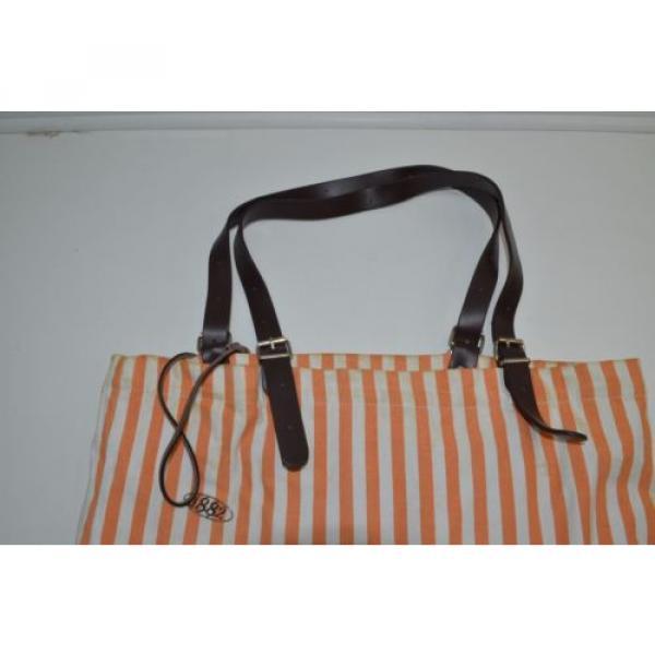 Saldarini Como 1882 Striped Canvas Extra Large Beach Bag Tote Orange #4 image