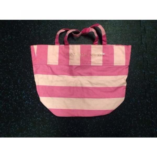 Victoria's Secret Pink Stripe Canvas Tote Beach Shopper Bag Purse #1 image